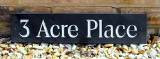 Engraved slate house name  / address sign - 450mm x 100mm; 17.7 inches x 4 inches